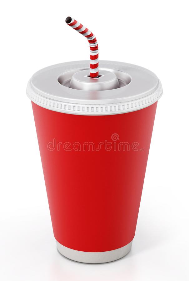 Paper soda cup isolated on white background. 3D illustration.  stock image