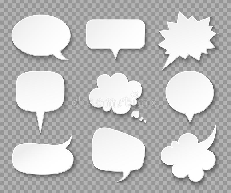 Paper speech bubbles. White blank thought balloons, shouting box. Vintage speech and thinking expression vector bubble royalty free illustration