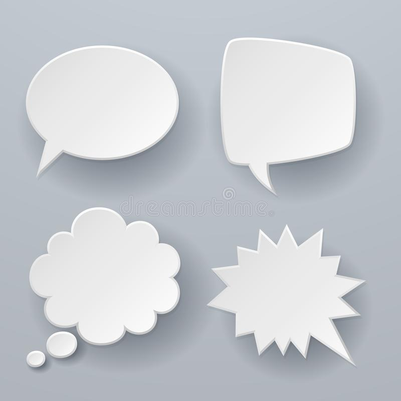 Paper speech bubbles. White origami 3d retro clouds thought chat or dialogue text message balloon vector concept vector illustration