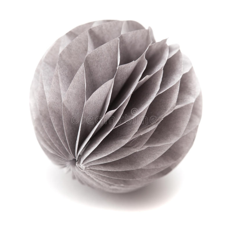 Paper sphere ornament. Isolated on white background royalty free stock photos