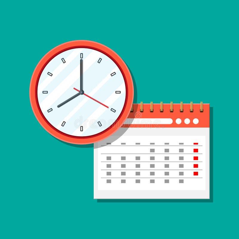 Paper spiral wall calendar and clocks. stock illustration