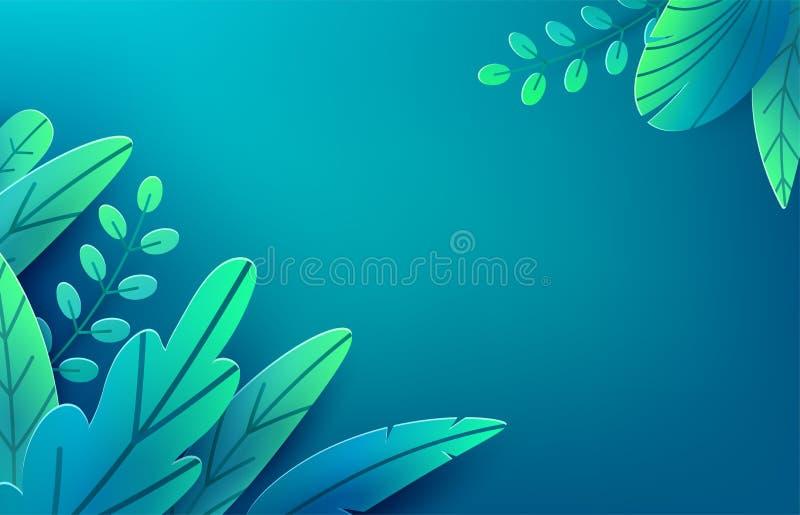 Paper spring leaves vector background. Paper cut style isolated on dark backdrop. Fantasy leaf art illustration, corner vector illustration