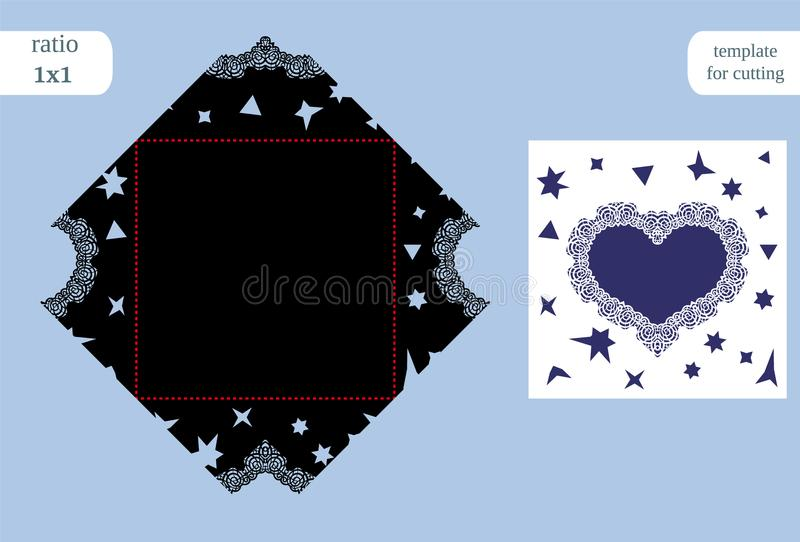 Paper square greeting card heart, wedding invitation, template for cutting, cut on plotter, metal plate cut by laser. Vector illustration royalty free illustration