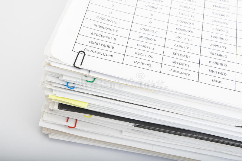 Paper stack on white background royalty free stock photography