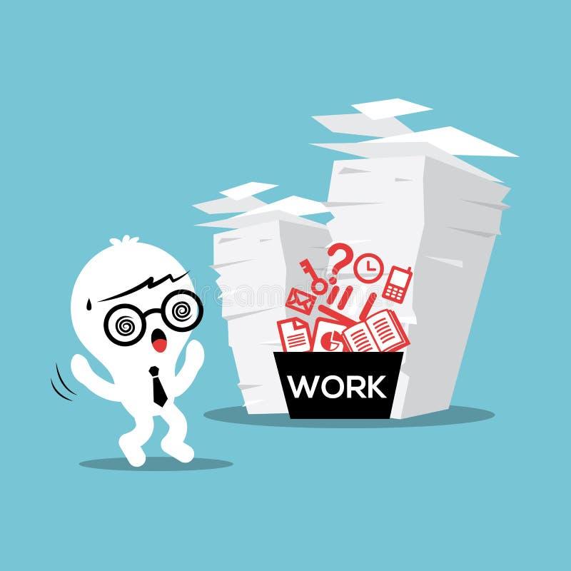 Paper Stack Work Load stock illustration