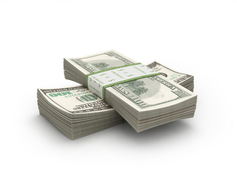 Paper stacks of 100 Bills on white. Paper stacks of 100 Bills stock image