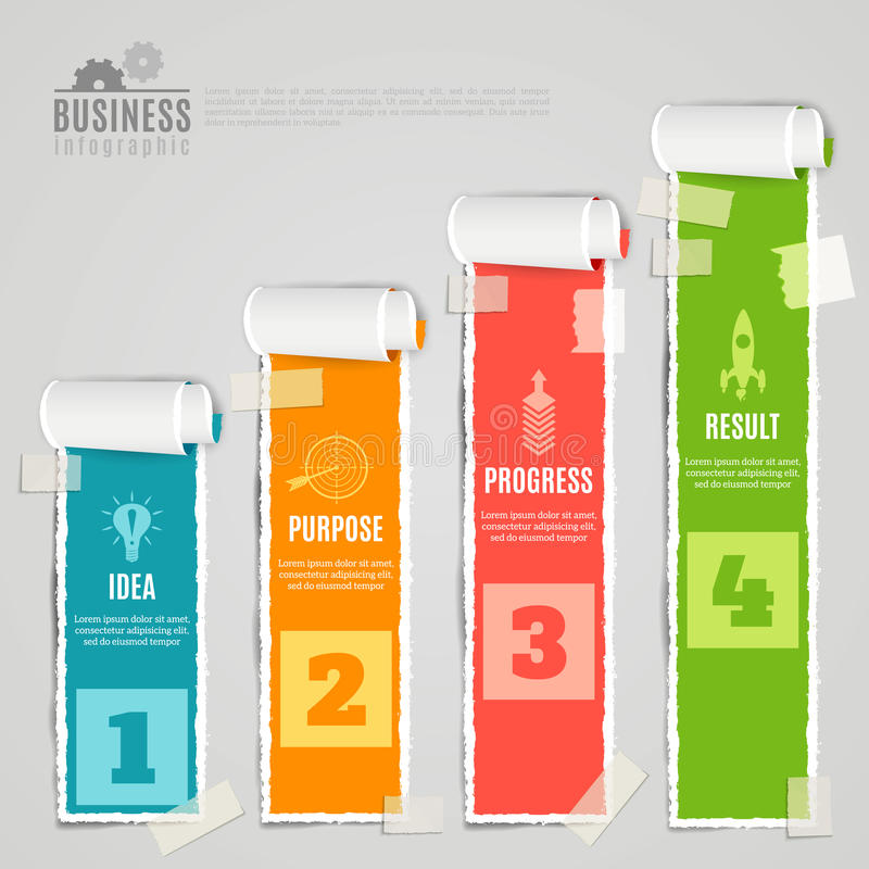 Paper Stage Infographic Set royalty free illustration