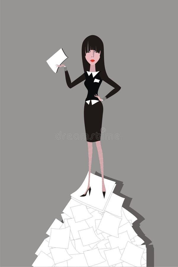paper standing för affärskvinnahög royaltyfri illustrationer