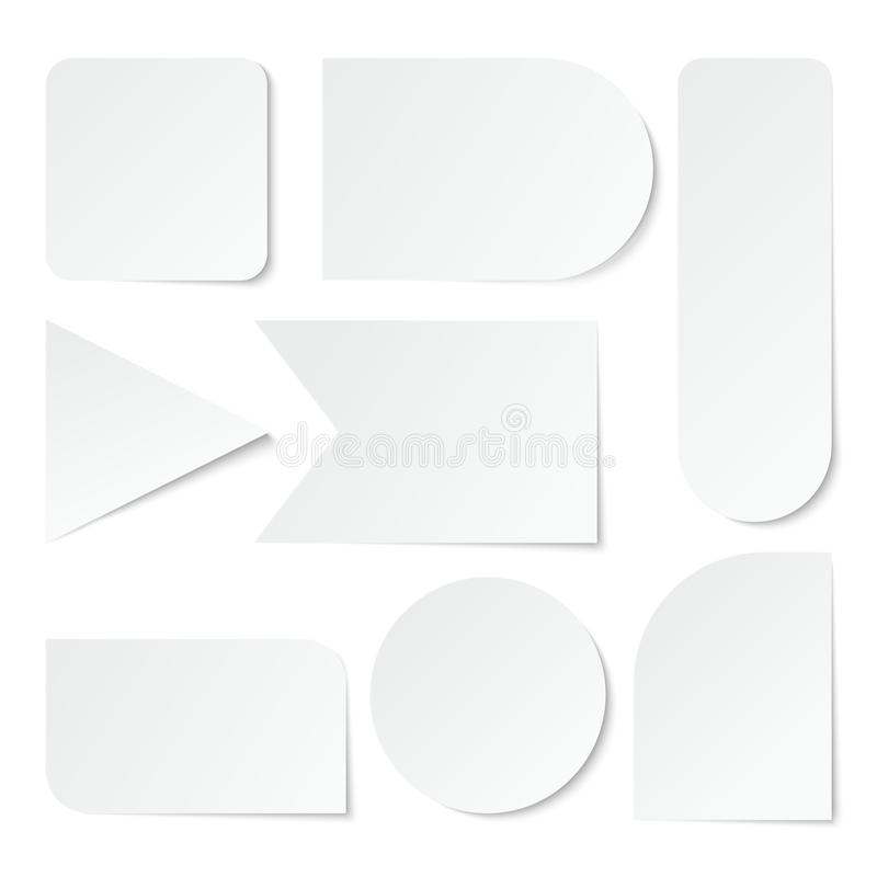 Paper stickers. Blank white labels, tags of different shapes. Isolated vector set stock illustration