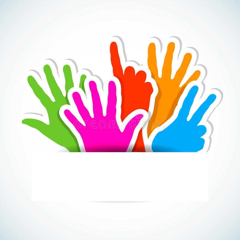 Download Paper Stickers Of Raised Hands. Stock Vector - Illustration of participation, creative: 24841018