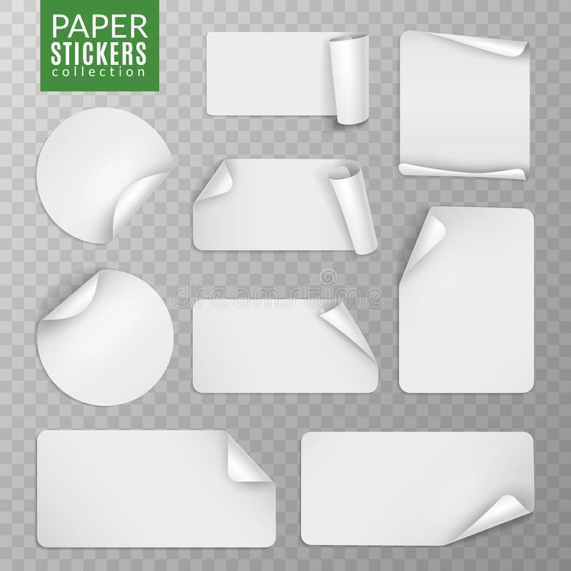 Paper stickers set. White label sticker page, blank badge bent note sticky banners curled corners wrapped sheets. Vector. Isolated collection royalty free illustration