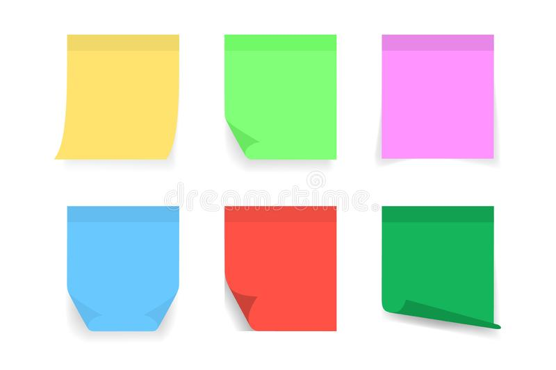 Paper sticky post note with red, blue, orange, yellow, pink color. Memo sticker for notepad, board, advertising. Attached paper. Sheet blank. Post note sticker vector illustration