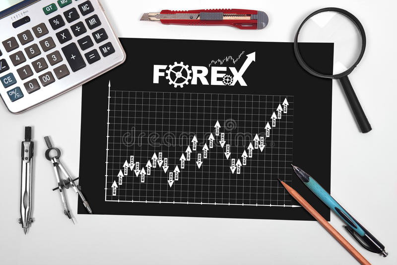 Paper with stock chart. And tools on desktop engineer royalty free stock photo