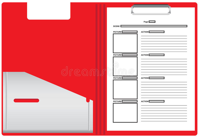 Paper for the storyboard of the film. Plastic folder with sheets of paper for the storyboard of the film based on the script. Vector illustration royalty free illustration