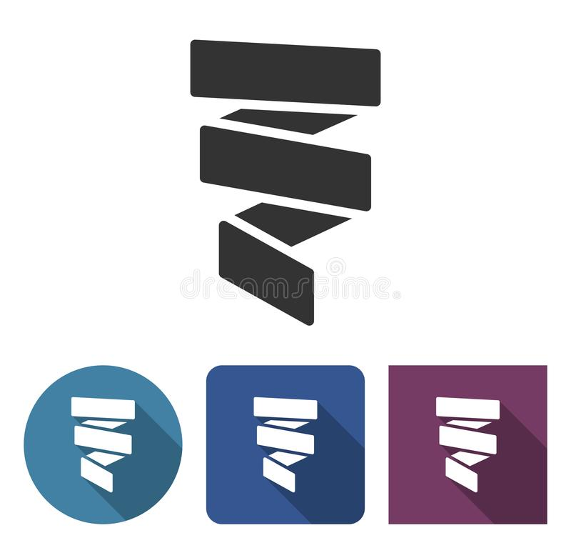 Paper streamer decoration icon in different variants royalty free illustration