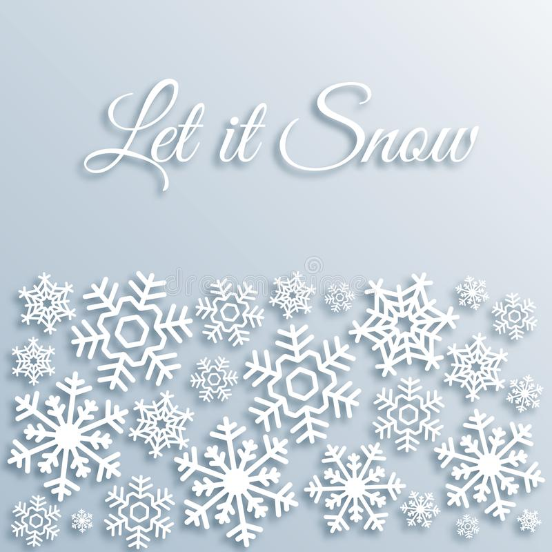 Paper style Christmas greeting card with white snowflakes. Let it snow text. Xmas vector background template. Elegant stock illustration