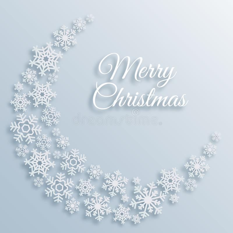 Paper style Merry Christmas greeting card with a crescent made of white snowflakes. Xmas holiday vector background stock illustration