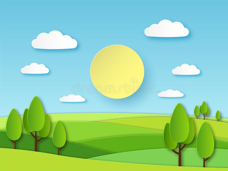 Paper summer landscape. Panoramic green field with trees and blue sky with white clouds. Layered papercut ecology vector. 3d cartoon nature horizon concept royalty free illustration