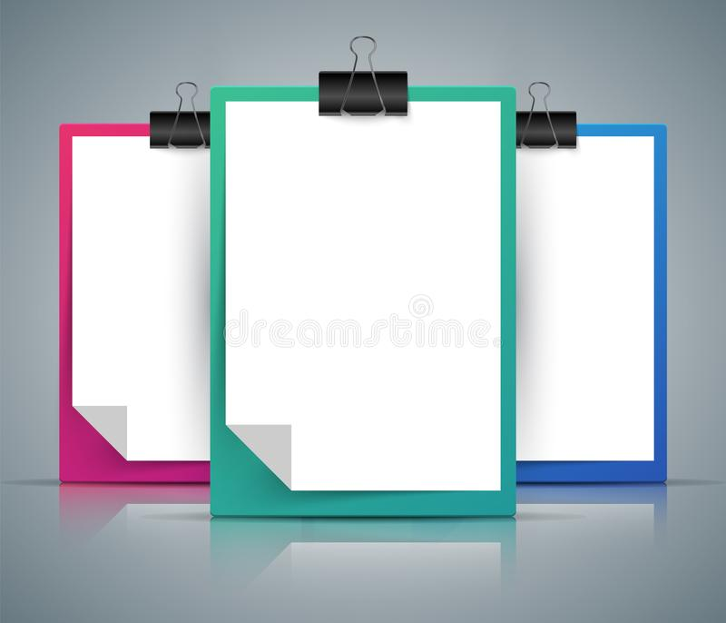 Paper tablet, clip, pin - A4 format. Paper tablet, clip, pin - A4 format Vector eps 10 stock illustration