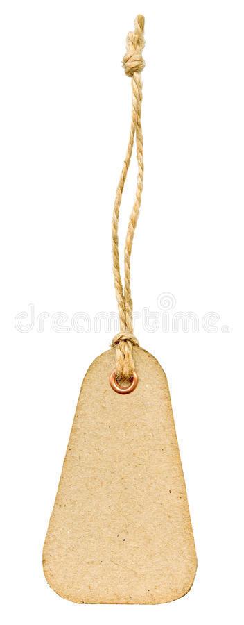 Paper tag. Grungy aged paper tag with metal rivet and simple traditional string, isolated on white background stock photo