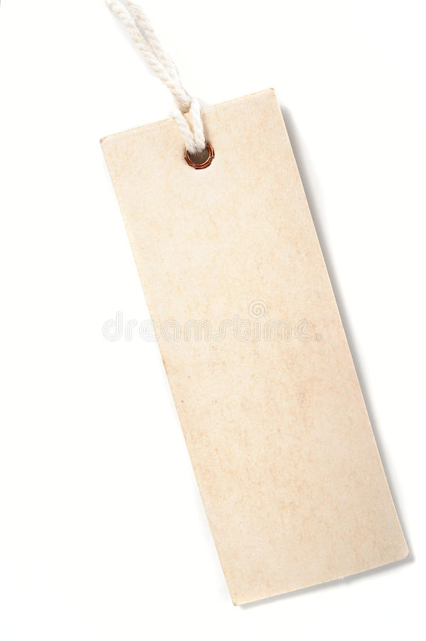 Paper tag. With rope isolate on white background stock image