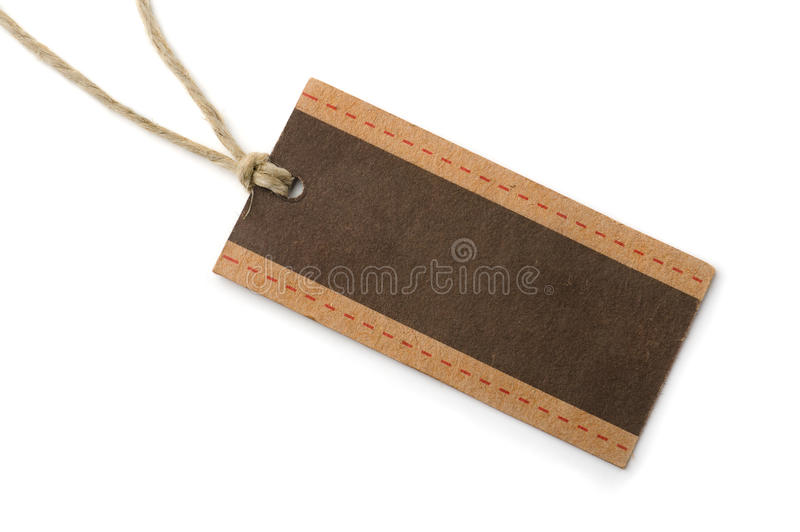 Paper tag. Empty brown paper tag isolated on whiteon white stock photo