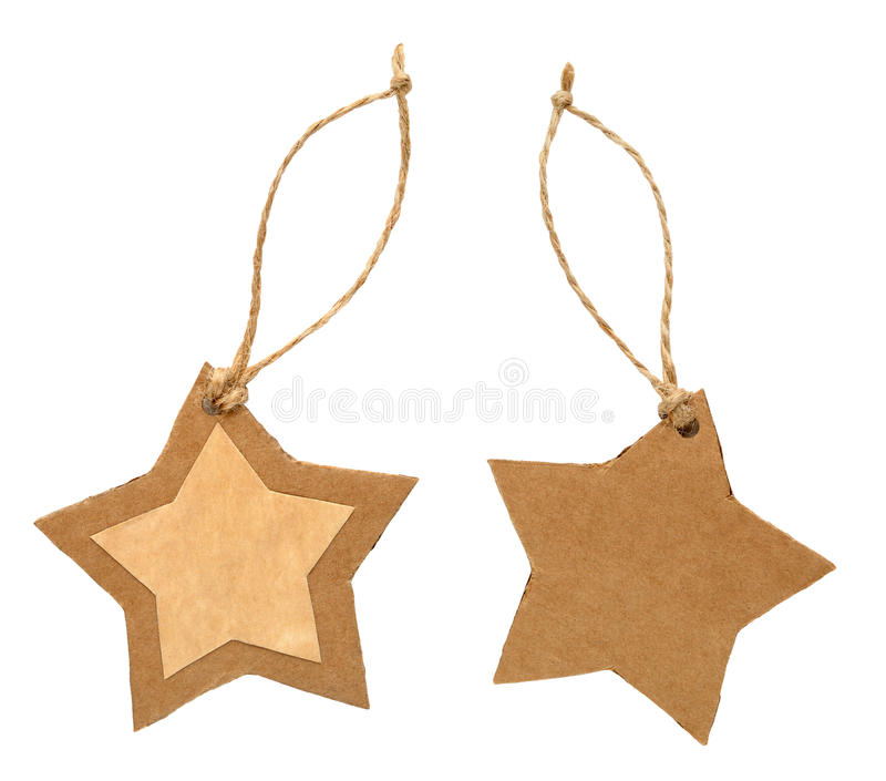 Paper tag in form of star. Isolated on white background stock image
