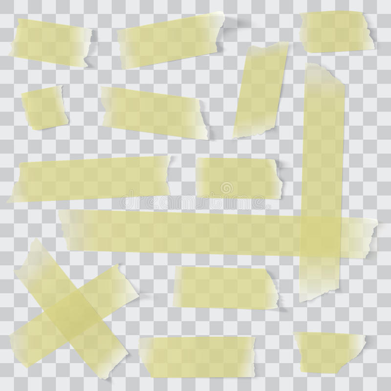 Paper tape set. Transparent adhesive paper tape set vector illustration