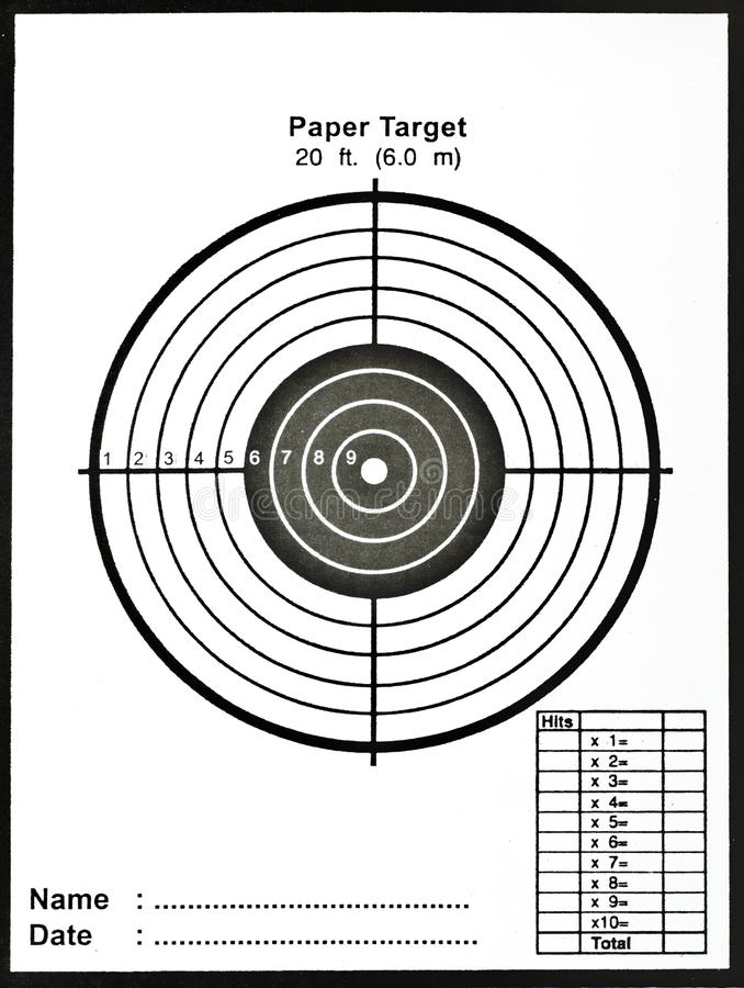 Paper target for practice stock photography