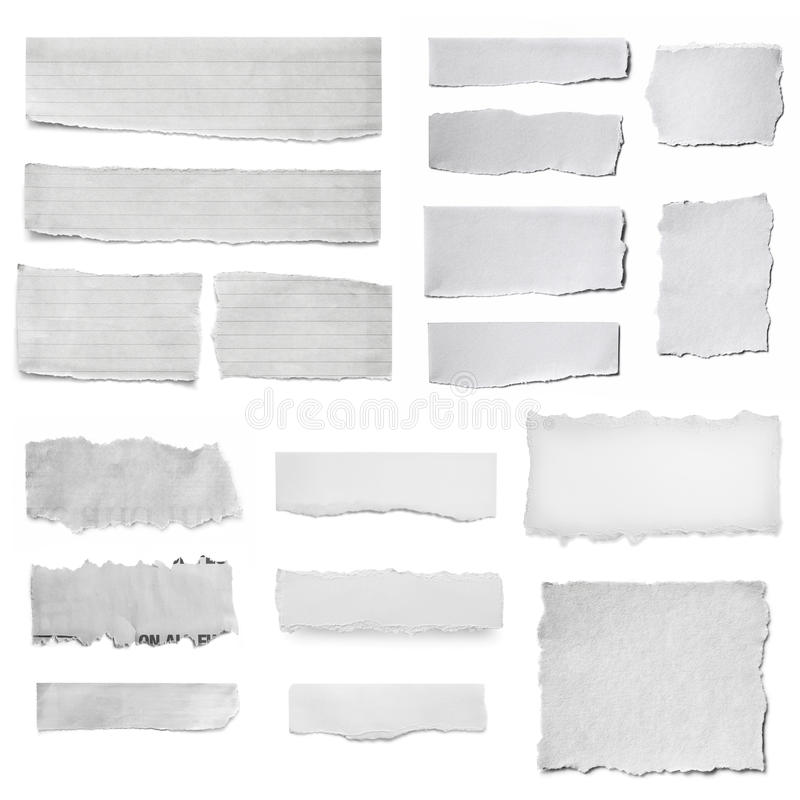 Paper Tears Collection XXL. Paper tears collection, isolated on white. Torn pieces, isolated on white royalty free stock photo