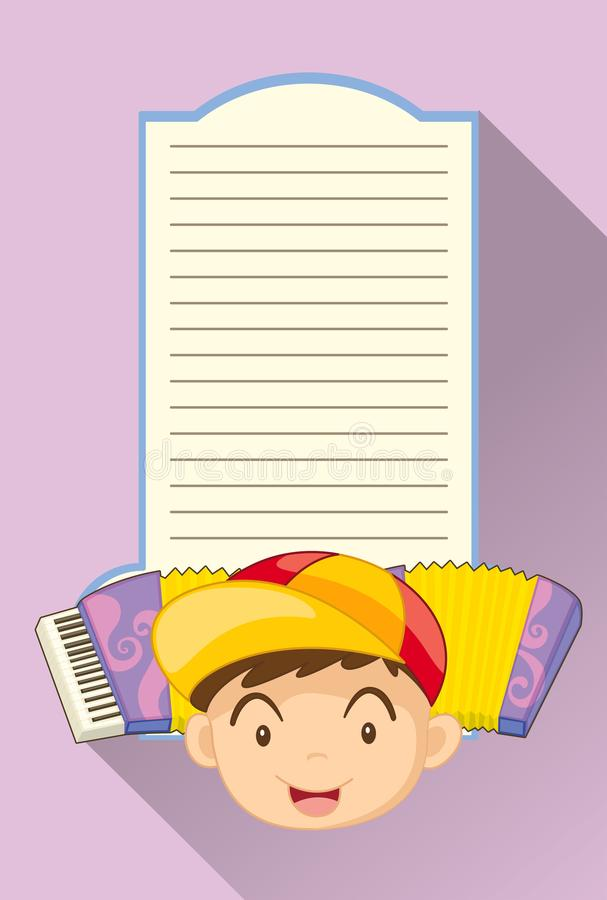 Paper template with boy and accordion. Illustration vector illustration