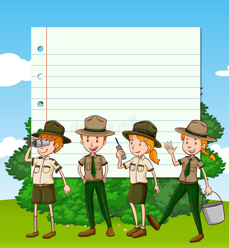 Paper template with four park rangers vector illustration