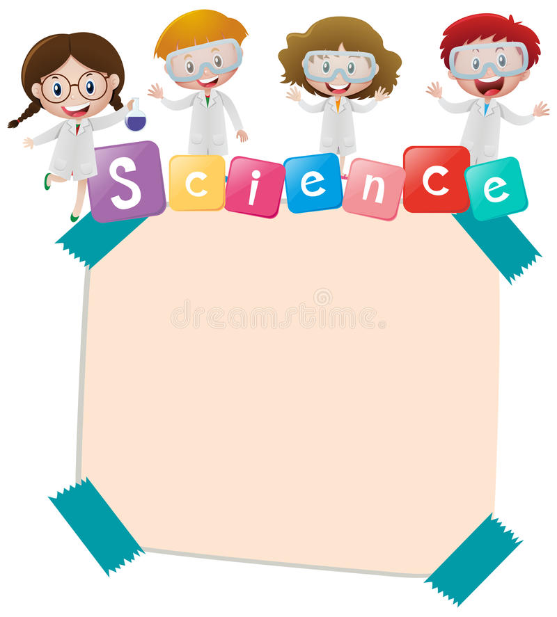Paper Template With Kids And Science Stock Vector - Illustration of ...