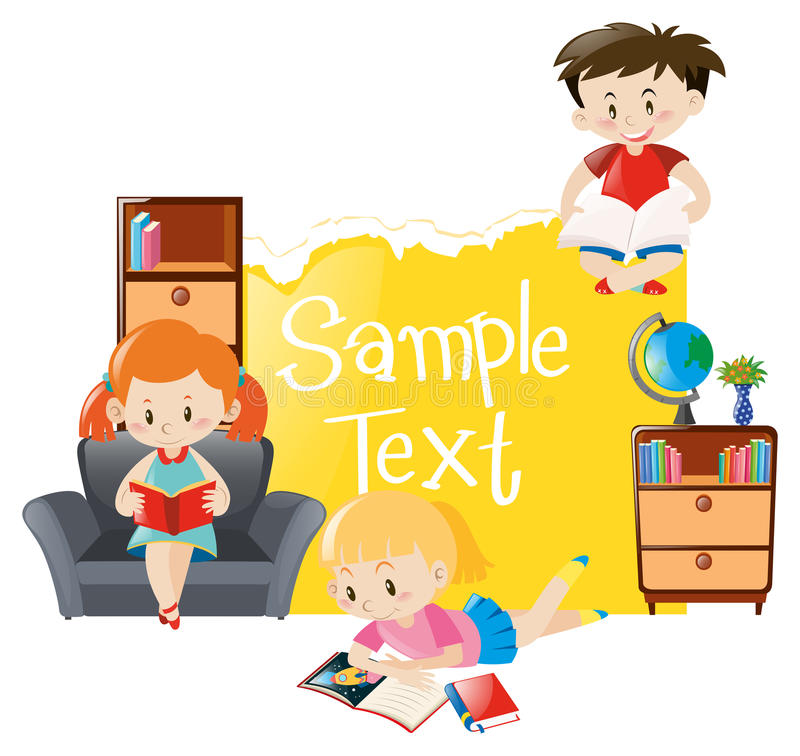 Paper template with three kids reading books. Illustration stock illustration