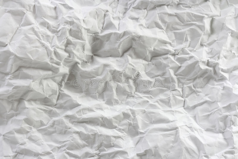 Paper texture. White crumpled paper texture, close up stock photo
