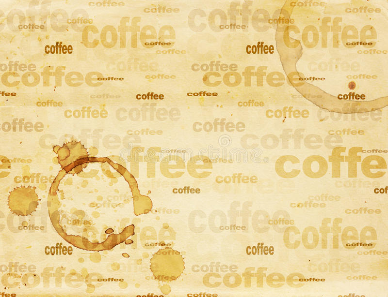 Paper texture with drops of coffee. Texture - a sheet of the old, soiled paper with drops of coffee stock illustration