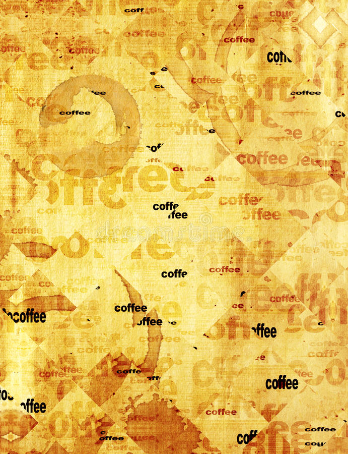 Paper texture with drops of coffee. Texture - a sheet of the old, soiled paper with drops of coffee royalty free illustration