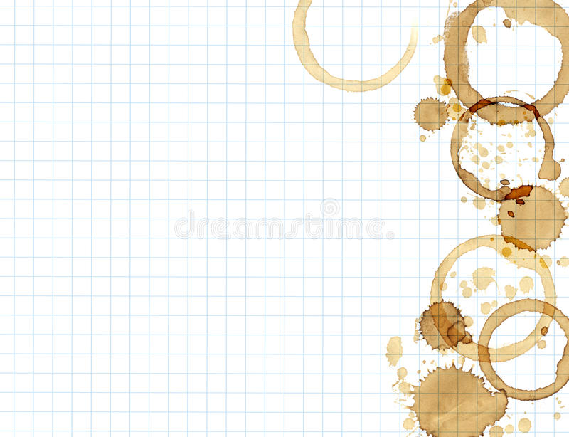 Paper texture with drops of coffee. Texture - a sheet of the old, soiled paper with drops of coffee vector illustration