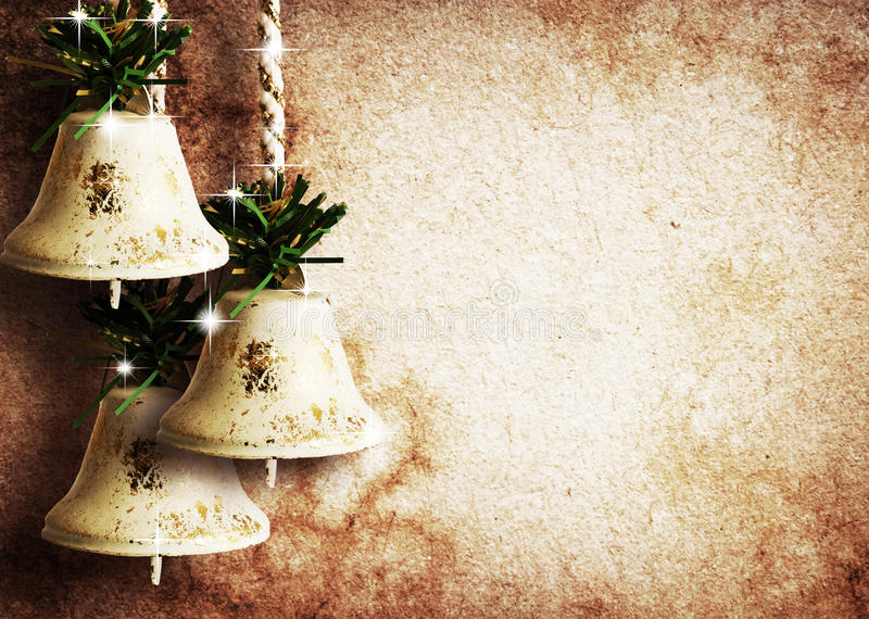 Paper textures with bells and stars stock photo