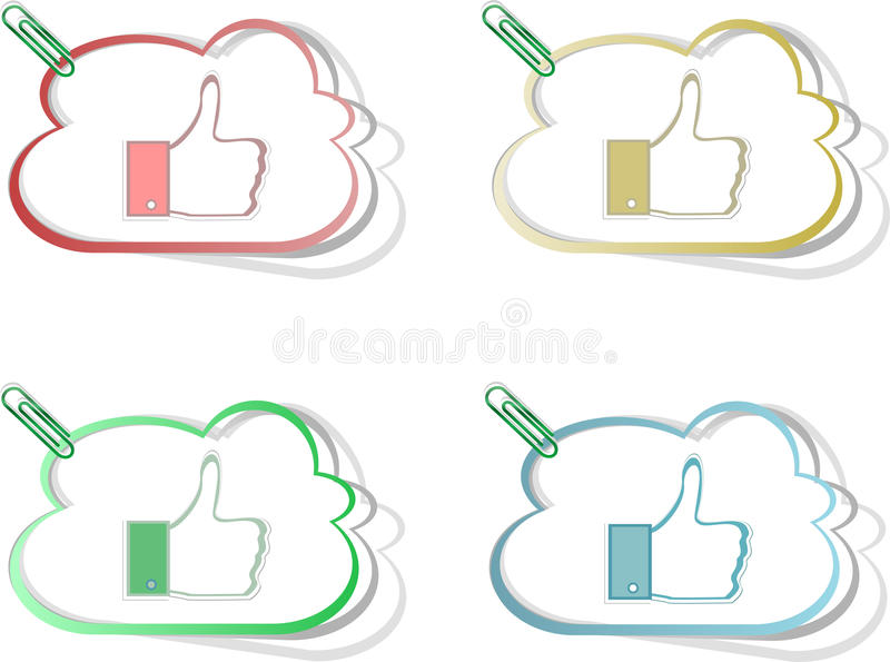 Download Paper Thumb Up Like Hand Symbol. Vector Set Editorial Stock Image - Image: 26848949