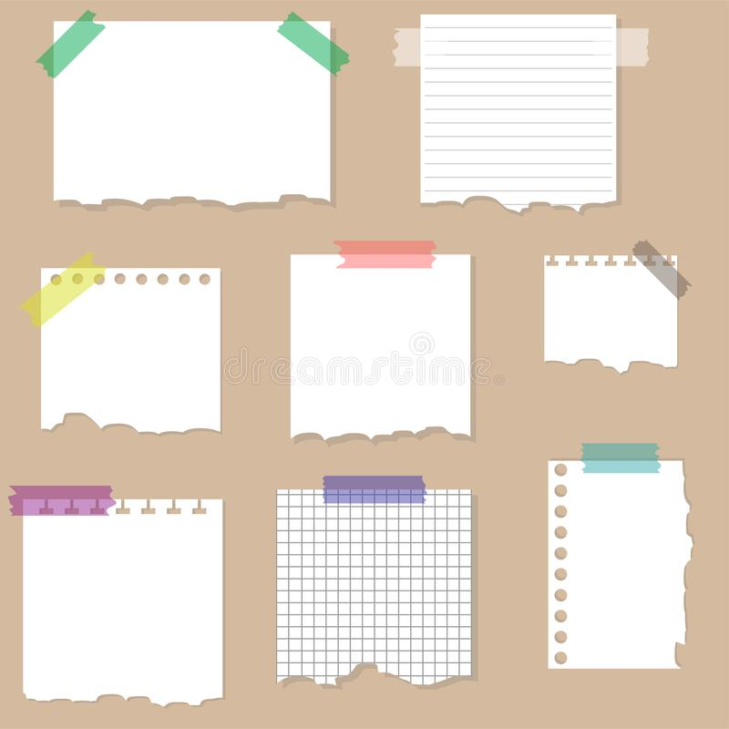 Paper torn page notes. Papers of different size glued to wall with tape. Vector stock illustration