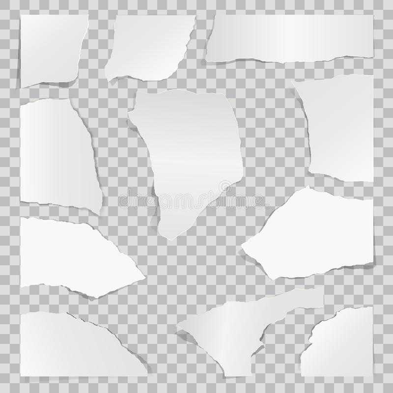 Paper torn to pieces. Scrap paper. Web banner background stock illustration
