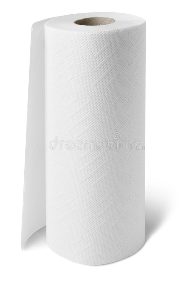 Paper towel roll. Isolated household paper towel roll royalty free stock images