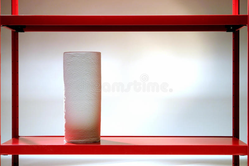 Download Paper Towel Roll On Red Shelf Stock Photo - Image of storage, household: 12814996