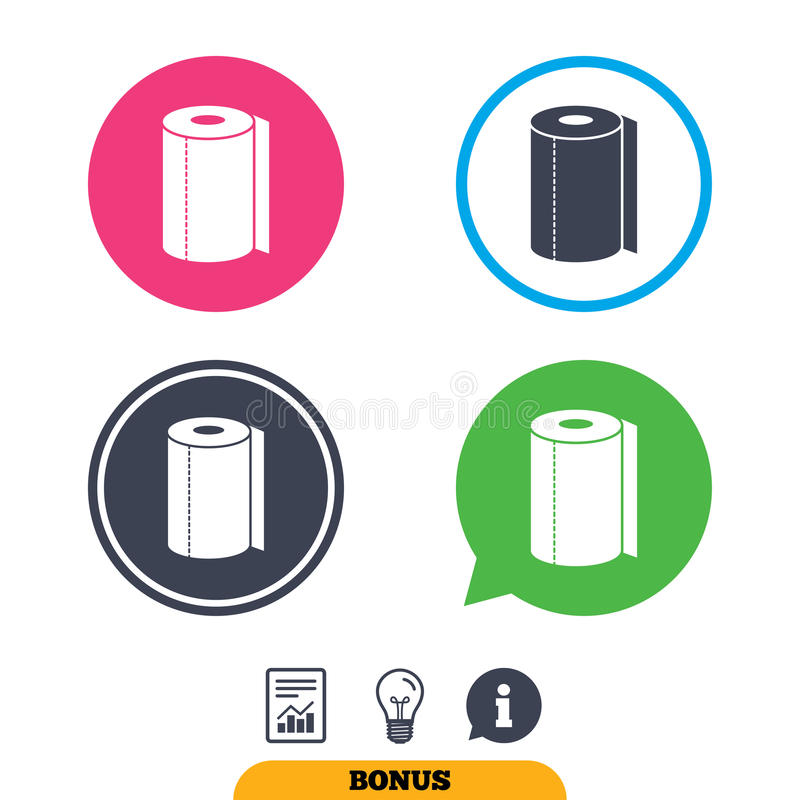 Paper towel sign icon. Kitchen roll symbol. Report document, information sign and light bulb icons. Vector royalty free illustration