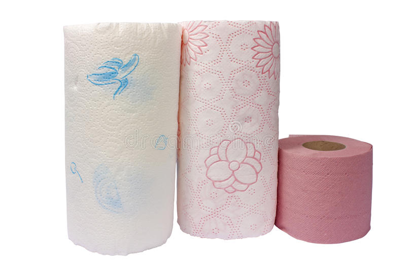 Paper towels and toilet paper royalty free stock photography