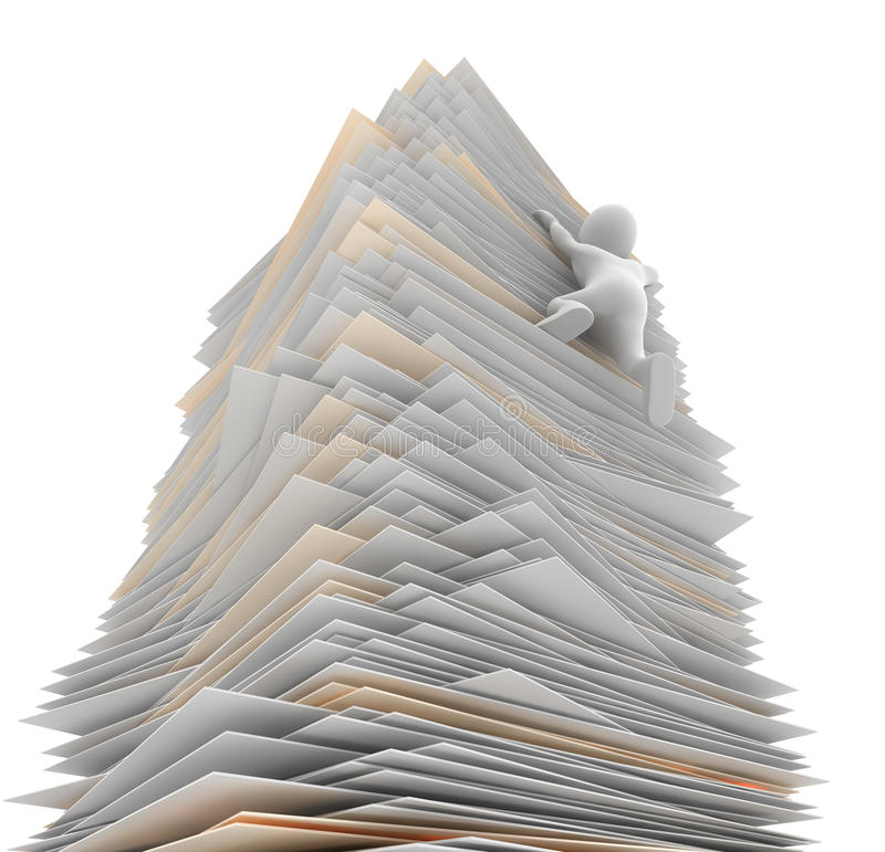 Paper Tower. 3D character struggling to climb a mountain of paper vector illustration