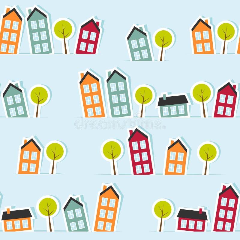 Paper town seamless pattern. Vector illustration stock illustration