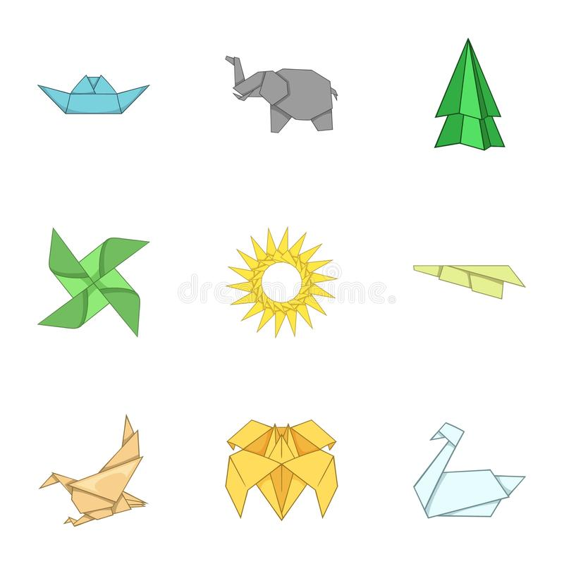 Paper toy icons set, cartoon style. Paper toy icons set. Cartoon set of 9 paper toy vector icons for web isolated on white background stock illustration