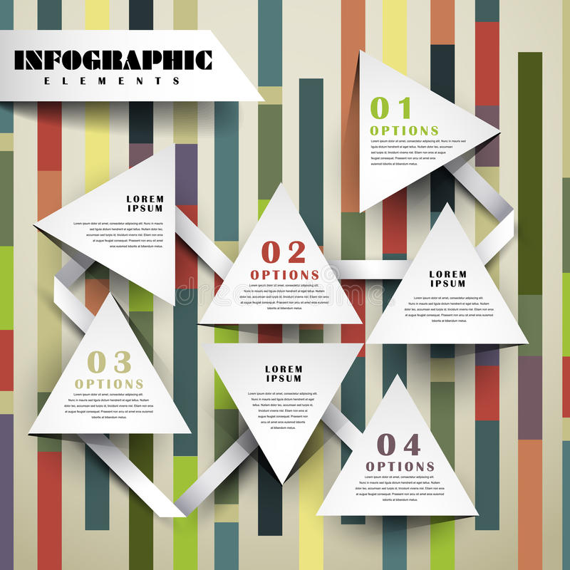 Paper triangle flowchart infographic elements. Modern vector abstract paper triangle flowchart infographic elements stock illustration